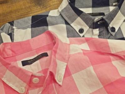 ギンガムチェック七分袖シャツ