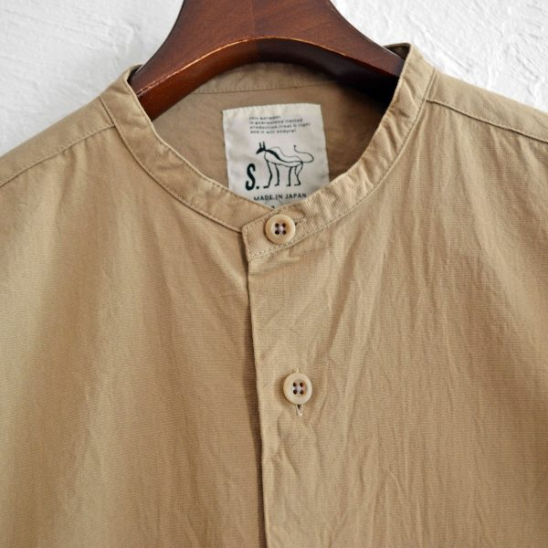 SHARKEY'Sの和紙コットンスタンドカラーシャツ